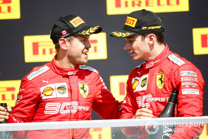 Sebastian Vettel, Ferrari, 2nd position, and Charles Leclerc, Ferrari, 3rd position, on the podium