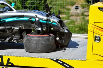 The damaged car of Valtteri Bottas, Mercedes AMG W10