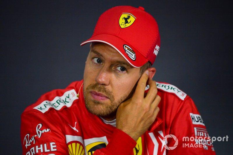 Sebastian Vettel, Ferrari, durante la conferenza stampa