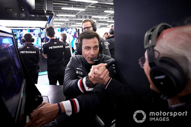 Toto Wolff, Executive Director (Business), Mercedes AMG, celebrates after Mercedes secure a front row start in Qualifying