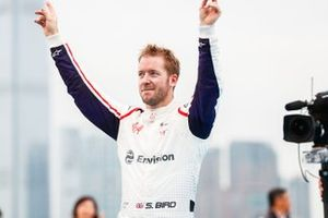 Race winner Sam Bird, Envision Virgin Racing approaches the podium