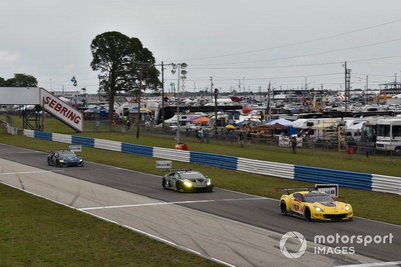 #4 Corvette Racing Corvette C7.R, GTLM: Oliver Gavin, Tommy Milner, Marcel Fassler, #44 Magnus Racing Lamborghini Huracan GT3, GTD: John Potter, Andy Lally, Spencer Pumpelly