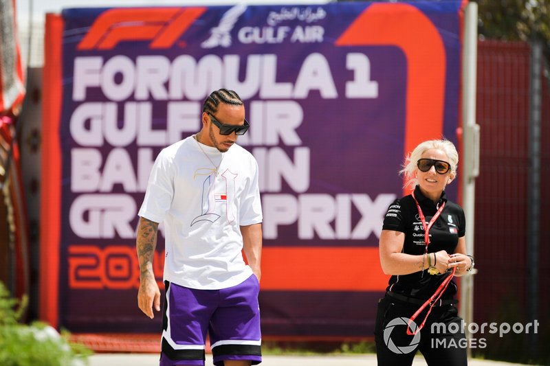 Lewis Hamilton, Mercedes AMG F1 arrives in the paddock with Angela Cullen, Mercedes