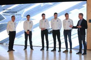 Daniel Juncadella, Paul di Resta, Jake Dennis, Ferdinand Habsburg, mit David Coulthard