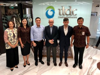 Indonesia Tourism Development Corporation (ITDC) President Director Abdulbar M Mansoer with Dorna CEO Carmelo Ezpeleta and Sporting Director Carlos Ezpeleta at the ITDC