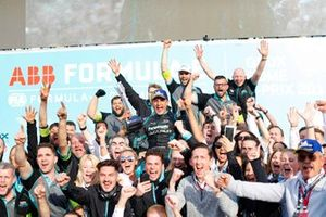 Mitch Evans, Panasonic Jaguar Racing, celebrates his, the team's maiden victory