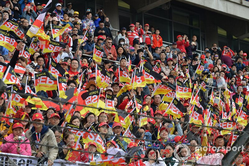 Crowd support for Sebastian Vettel, Ferrari