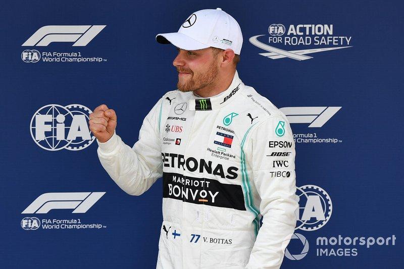 Pole man Valtteri Bottas, Mercedes AMG F1, celebrates