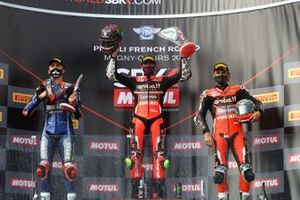 Podium: race winner Scott Redding, Aruba.it Racing Ducati, second place Loris Baz, Ten Kate Racing Yamaha, third place Chaz Davies, ARUBA.IT Racing Ducati