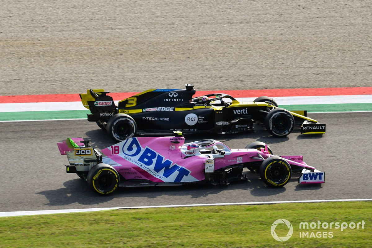 Daniel Ricciardo, Renault F1 Team R.S.20, Lance Stroll, Racing Point RP20