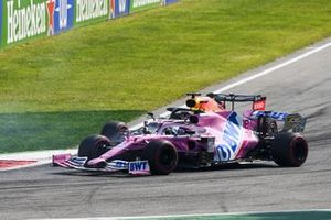 Lance Stroll, Racing Point RP20 and Max Verstappen, Red Bull Racing RB16