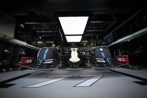 Car of Valtteri Bottas, Mercedes F1 W11 in the garage