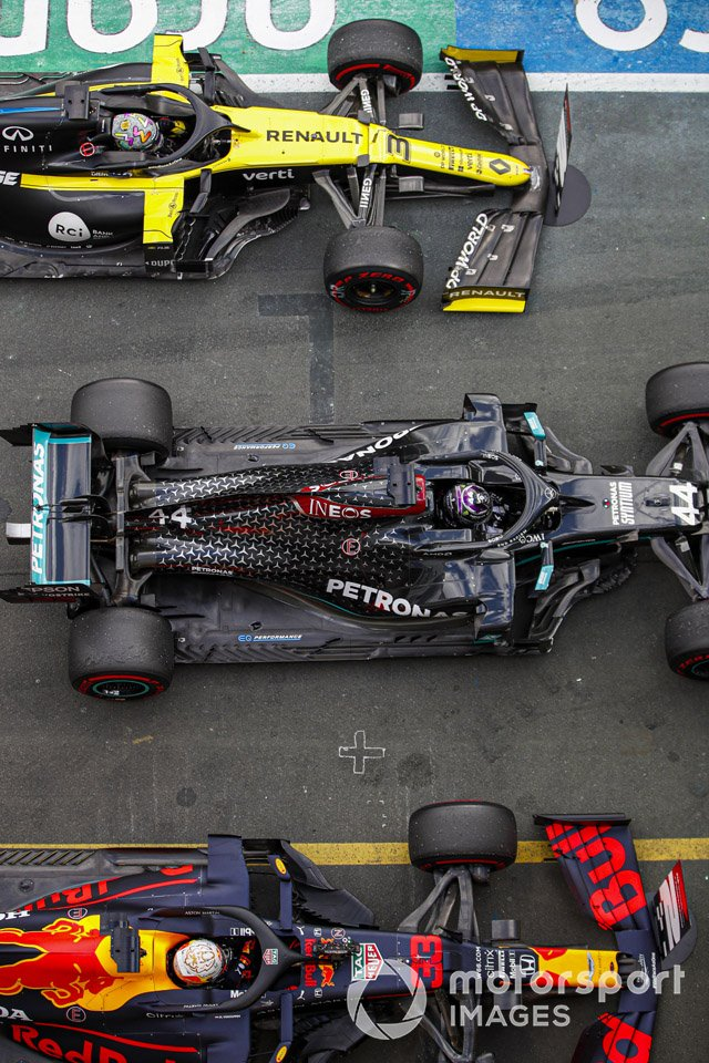 Lewis Hamilton, Mercedes F1 W11, 1st position, Max Verstappen, Red Bull Racing RB16, 2nd position, and Daniel Ricciardo, Renault F1 Team R.S.20, 3rd position, in parc ferme