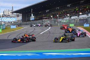 Max Verstappen, Red Bull Racing RB16, Daniel Ricciardo, Renault F1 Team R.S.20, Sergio Perez, Racing Point RP20, Carlos Sainz Jr., McLaren MCL35, and Charles Leclerc, Ferrari SF1000