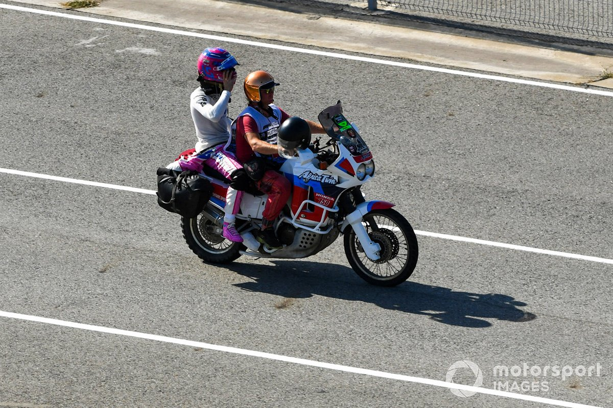 Lance Stroll, Racing Point, después de chocar