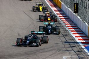 Lewis Hamilton, Mercedes F1 W11, Valtteri Bottas, Mercedes F1 W11, and Max Verstappen, Red Bull Racing RB16