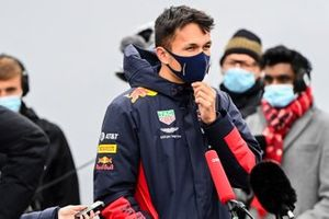 Alex Albon, Red Bull Racing talks to the press