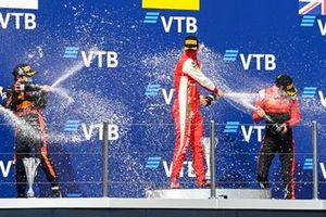 Yuki Tsunoda, Carlin, Race Winner Mick Schumacher, Prema Racing and Callum Ilott, UNI-Virtuosi celebrate on the podium with the champagne