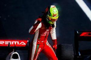 Race Winner Mick Schumacher, Prema Racing celebrates in Parc Ferme