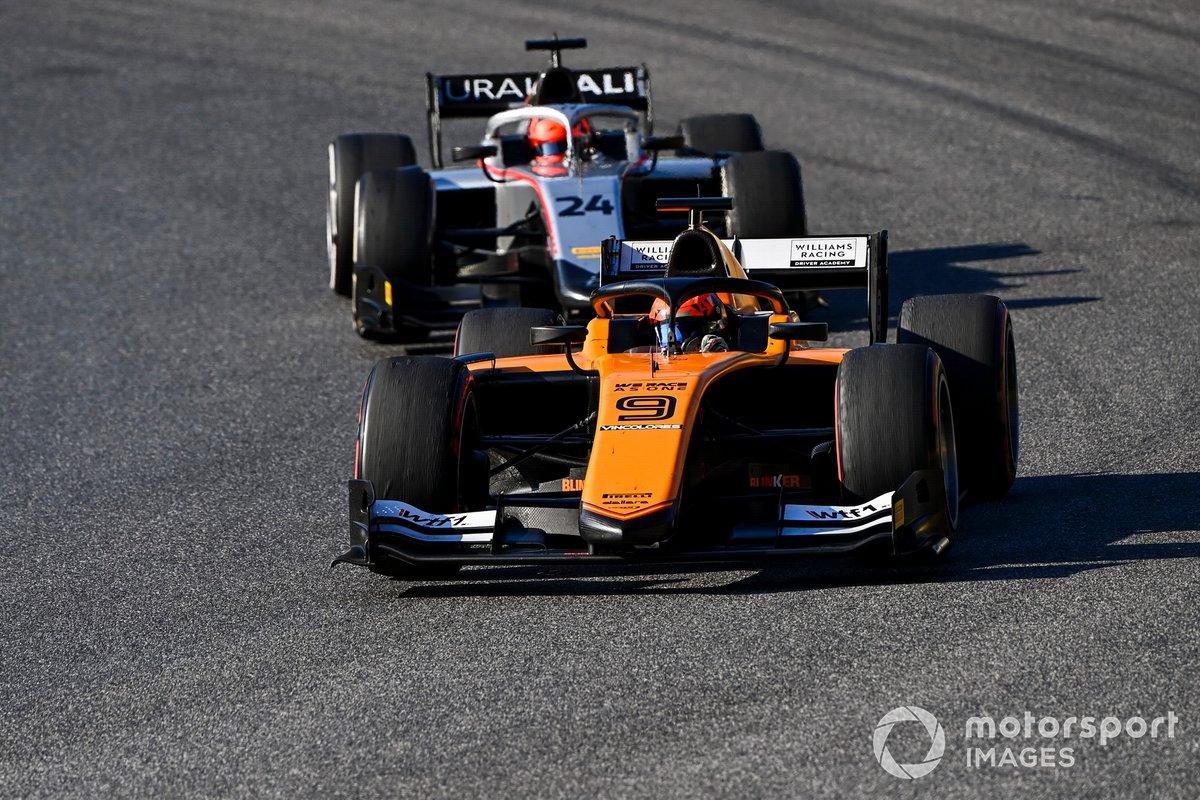 Jack Aitken, Campos Racing, precede Nikita Mazepin, Hitech Grand Prix