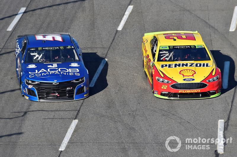 Joey Logano, Team Penske, Ford Fusion Shell Pennzoil, Jeb Burton, Rick Ware Racing, Ford Fusion Jacob Companies