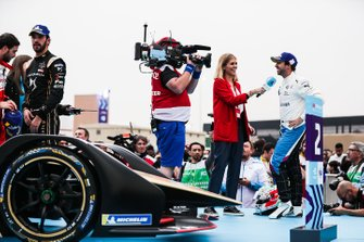 TV Presenter Nicki Shields interviews winner Antonio Felix da Costa, BMW I Andretti Motorsports before the podium