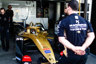 Andre Lotterer, DS TECHEETAH, DS E-Tense FE19, prepares to leave the garage