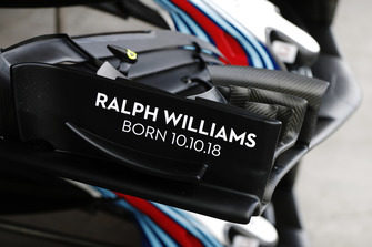 Markings commemorating the birth of Ralph Williams to Claire Williams, Deputy Team Principal, Williams Racing