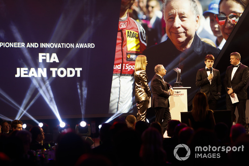 FIA President Jean Todt receives the Pioneer and Innovation Award