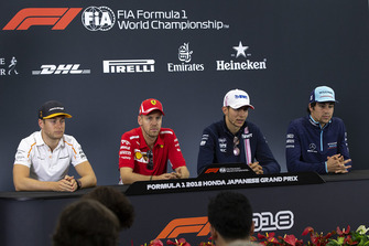 Stoffel Vandoorne, McLaren, Sebastian Vettel, Ferrari, Esteban Ocon, Racing Point Force India F1 Team and Lance Stroll, Williams Racing in Press Conference