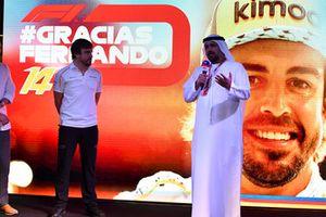 Al Tarek Al Ameri, Yas Marina CEO on stage as Fernando Alonso, McLaren says goodbye to the fans