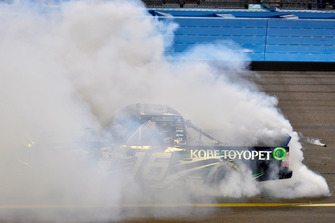 Brett Moffitt, Hattori Racing Enterprises, Toyota Tundra KOBE celebrates his win with a burnout