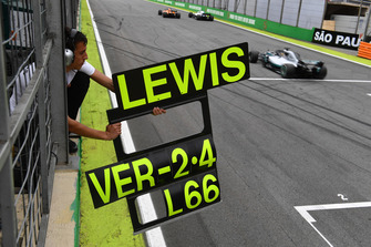 Pit board for Lewis Hamilton, Mercedes-AMG F1 W09