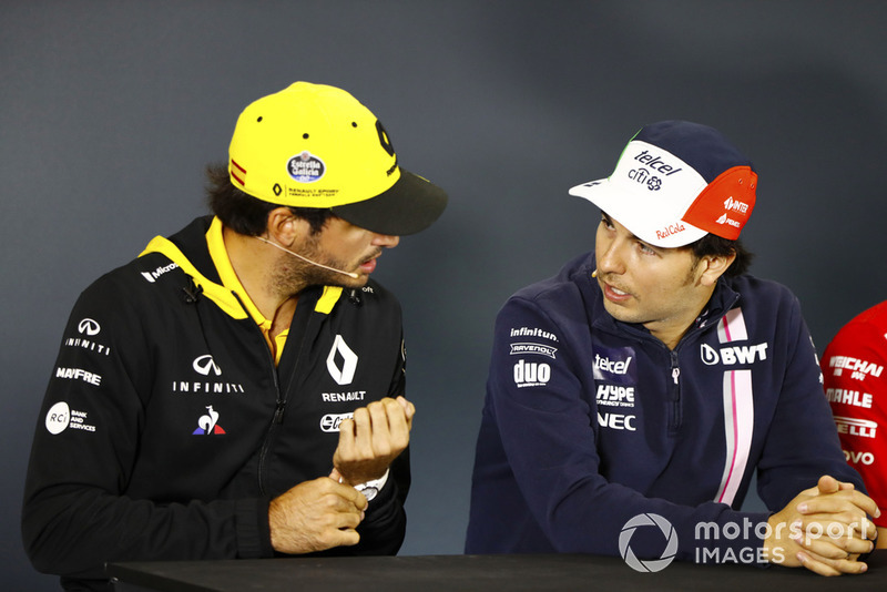 Carlos Sainz Jr., Renault Sport F1 Team, Sergio Pérez, Force India, en la conferencia
