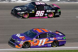 Denny Hamlin, Joe Gibbs Racing, Toyota Camry FedEx Office and Jeffrey Earnhardt, Gaunt Brothers Racing, Toyota Camry Xtreme Concepts / iK9