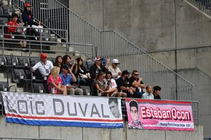 Loic Duval and Esteban Ocon, Racing Point Force India F1 Team fans and banners