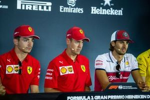 Charles Leclerc, Ferrari, Sebastian Vettel, Ferrari, Antonio Giovinazzi, Alfa Romeo Racing