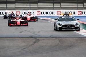 Safety car leads Marcus Armstrong, PREMA Racing and Robert Shwartzman, PREMA Racing