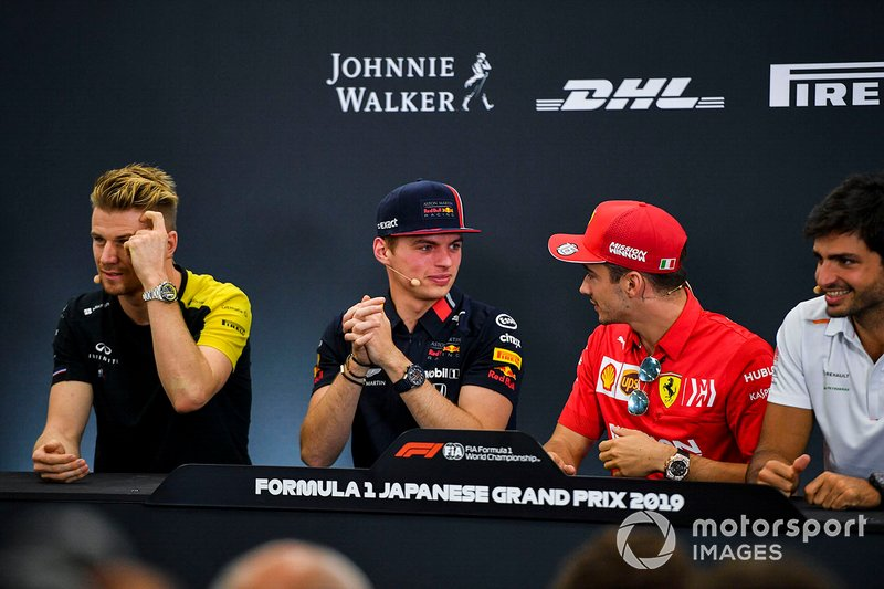 Nico Hulkenberg, Renault F1 Team, Max Verstappen, Red Bull Racing, Charles Leclerc, Ferrari and Carlos Sainz Jr., McLaren in the Press Conference