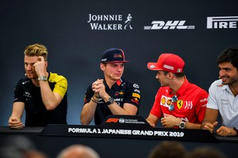 Nico Hulkenberg, Renault F1 Team, Max Verstappen, Red Bull Racing, Charles Leclerc, Ferrari and Carlos Sainz Jr., McLaren in the Press Conference