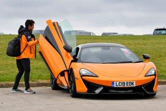 Lando Norris, McLaren arrives in a McLaren