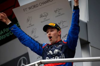 Daniil Kvyat, Toro Rosso, 3rd position, celebrates on the podium