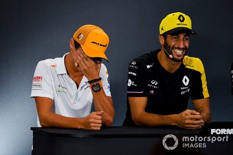 Lando Norris, McLaren e Daniel Ricciardo, Renault F1 Team in conferenza stampa