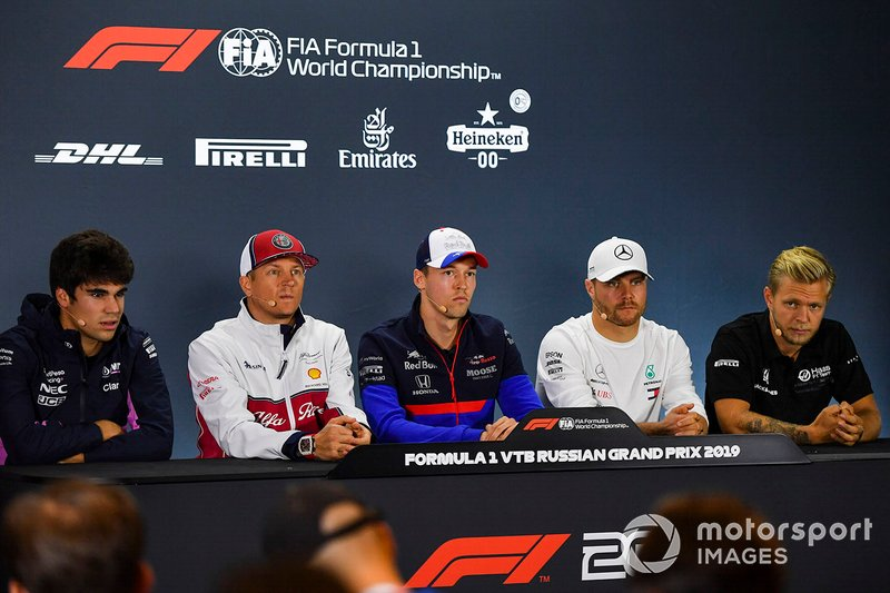 Press conference: Lance Stroll, Racing Point, Kimi Raikkonen, Alfa Romeo Racing, Daniil Kvyat, Toro Rosso, Valtteri Bottas, Mercedes AMG F1, and Kevin Magnussen, Haas F1 Team
