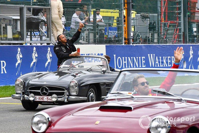 Lewis Hamilton, Mercedes AMG F1, Sebastian Vettel, Ferrari, on the drivers parade