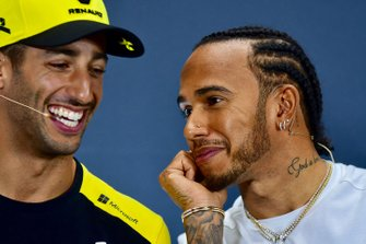 Lewis Hamilton, Mercedes AMG F1 and Daniel Ricciardo, Renault F1 Team in the Press Conference