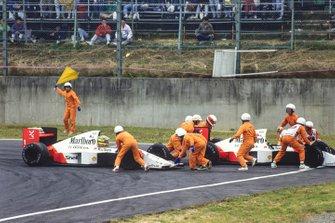 Kollision: Alain Prost, McLaren MP4/5, Ayrton Senna, McLaren MP4/5