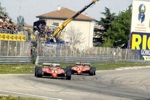 Didier Pironi, Ferrari 126C2, leads Gilles Villeneuve, Ferrari 126C2