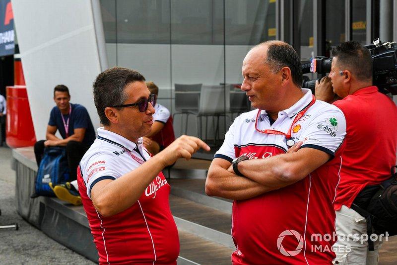 Frederic Vasseur, Team Principal, Alfa Romeo Racing, e Luca Furbatto chief designer Alfa Romeo Racing