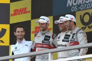 Podium, Bruno Spengler, BMW Team RMG, Mike Rockenfeller, Audi Sport Team Phoenix, Jamie Green, Audi Sport Team Rosberg